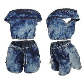 Conjuntos Femininos Cropped Short Jeans Carnaval 2018!