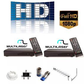 Kit 2 Conversor Digital Gravador + Antena Externa Hdtv 15dbi