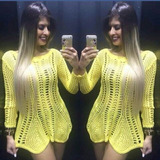 Mini Veste De Croche Vestido De Ponta Curto Blusa Vestido