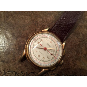 Antiguo Reloj Suizo Acrón Cronógrafo Mecanico Baño Oro Full