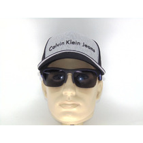 Boné Trucker Cinza Com Preto Calvin Klein Aba Curva
