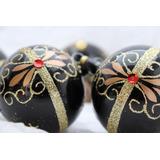 Elegantes Esferas Navideñas Artesanales. Negras (6 Piezas)