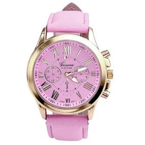 Relógio Feminino Dourado Barato Aço Inox Rosa Lindo Promoção