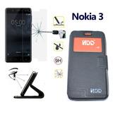 Nokia 3 Funda Cuero Flip Cover Y Mica De Vidrio Templado