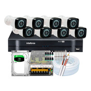 Kit Dvr Intelbras 16 Canais H.265 2tb 8 Câmeras Full Hd 20m