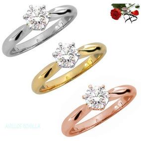 Anillo De Compromiso En Oro Sólido 10k Y Diamante Natural
