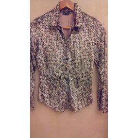 Camisa Blusa Chifon Verde Safari Marca Tucci
