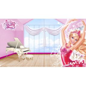 Painel Decorativo Banner 1,30x2,40 Barbie Sapatilhas Magicas