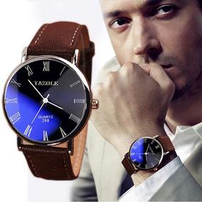 Relógio Luxo Yazole Pulseira Couro Masculino Social Barato