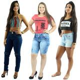 Kit Promocional Calça Feminina + Bermuda Jeans + Short+frete
