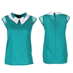 Blusa Feminina Chiffon Verde Linda E Elegante