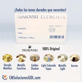 Piedra Cristal Swarovski Dorado Original 1pz Mayoreo Uñas