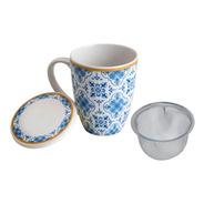 Caneca Detox Porcelana Tampa E Filtro Azulejo Portugues