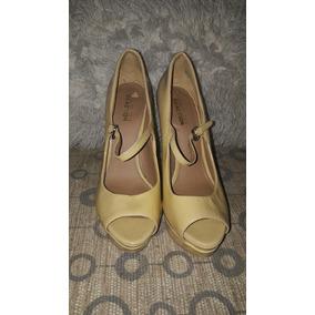 Zapato Tacon Nude Charolado, Tacon 14 Cm Plataforma 2cm