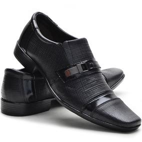 Sapato Social Couro Legítimo Detalhes Em Verniz