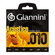 Encordoamento Violão Aço 010 Giannini Acústico 65/35