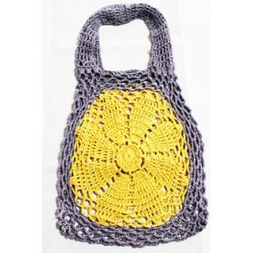Crochet Chile, Cartera Tejida 100% Lino , Nueva