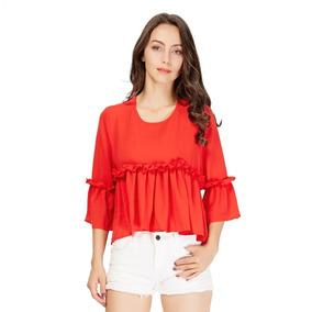 Blusa De Gasa Con Volados Importada Roja