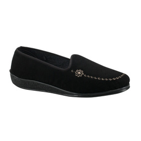 Zapatos Choclo Dama Piso Comodos Color Negro Textil Co162