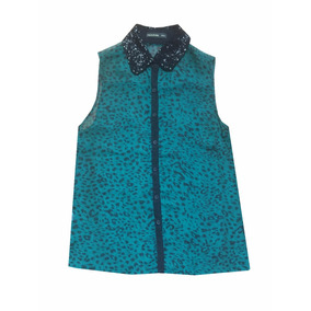 Camisa Animal Print Gasa Verde Con Lentejuelas. Nueva
