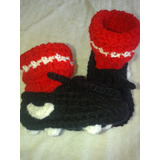 Botines De Fútbol Tejidos Para Bebé - Escarpines Crochet