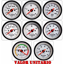Manômetro Pressão Turbo Combustivel Vacuo Ar Branco Cronomac