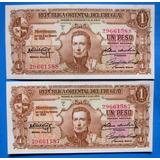 Tp Lote 2 Billetes Correlativos De $ 1. Brou 1939 Nuevos Unc