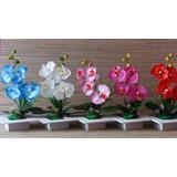 Orquídea Artificial De Seda Em Vaso De Madeira Cada
