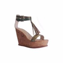 Sandalias Zapatos Plataformas De Corcho En Ecocuero Reptil