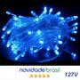 Pisca Pisca 100 Led Azul 127v 10 Metros 8 Funções Natal