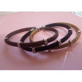 Bracelele Italiano Aço Inox Aplique Prata 925 Tipo Rosa Leal
