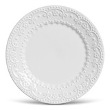 Jogo 6 Pratos Rasos Esparta Branco Cerâmica Porto Brasil