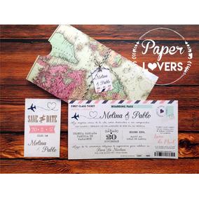 Invitación Boda Boarding Pass Ticket Postal Original