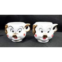 Par De Xicara Porquinho Catalogado Porcelana Original Antigo