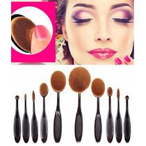 Kit Pincel Escova Oval 10 Pcs Maquiagem - Pronta Entrega