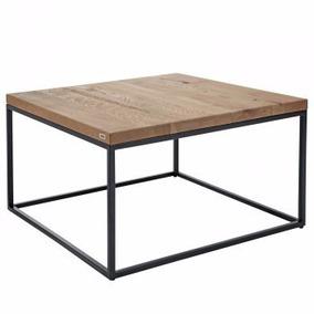 mesa de centro diseo industrial con herrera negra y roble
