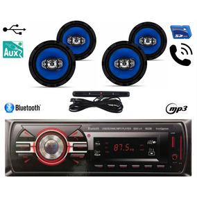 Kit 4 Falante 6 Pol + Rádio Carro Mp3 Usb Bluetooth + Antena