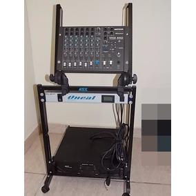 Rack + Mesa De Som 8 Canais + Amplificador + Filtro De Linha