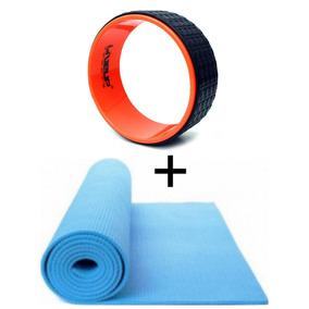 Roda Yoga Flow Wheel Pilates + Tapete Yoga
