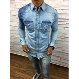 Camisa Jeans, Xadez Masculina Grandes Marcas