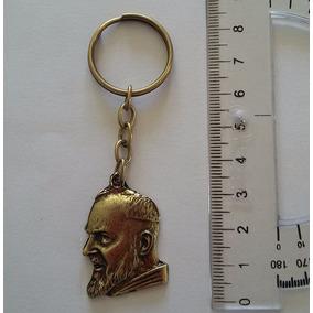 Chaveiro Imagem São Padre Pio Em Metal Banho Ouro Velho