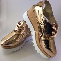 Zapatos Plataformas Oro Rosa De Moda
