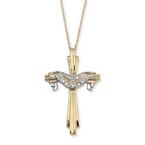 Diamante Acento 10k Oro Cruz Y Túnica Colgante Y 18 Cadena