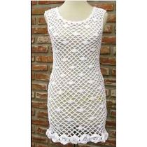 Vestido De Playa Con Flores A Crochet