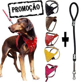Coleira Peitoral Cachorro + Guia Para Pitbull Pastor
