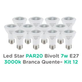 Led Par20 7w Bivolt E27 Led Star 3000k Branco Quente - Kit12