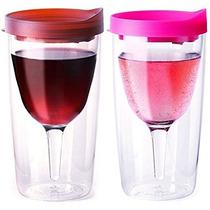 Vino2go Vino Vasos, De 10 Onzas, Juego De 2, Merlot Y Rosa