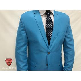 Terno Slim Masculino Corte Italiano Cor Azul Celeste