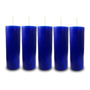 Kit 5 Velas Votivas 7 Sete Dias Colorida Azul Escuro