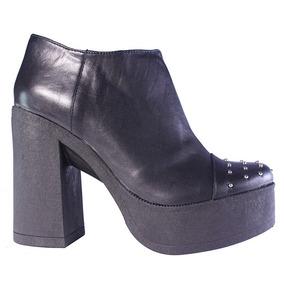 Zapatos Mujer Botas Cuero Tachas Plataforma Taco Moda Tops